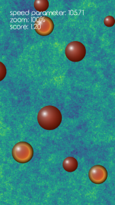 Screenshot from the game DarkMaster showing different coloured circles moving through the universe.